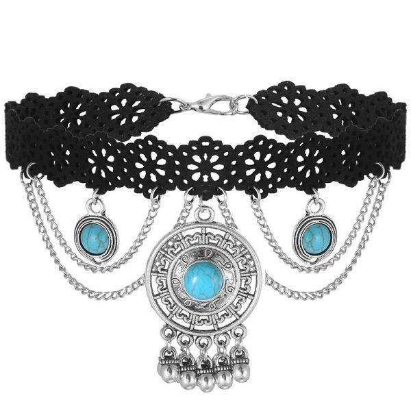 zwarte-choker-queen-turquoise-stenen-zilveren-hangers-velvet-chokers-kettingen-sieraden-fashion-online-bestellen