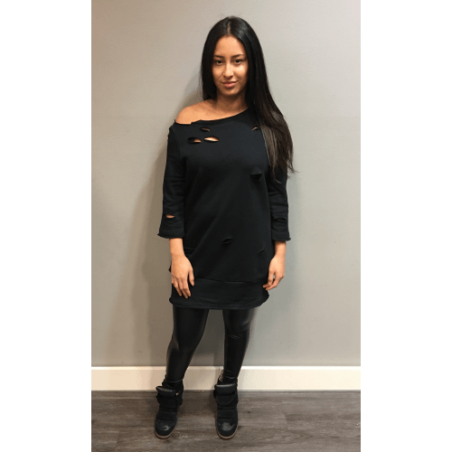 Lange Sweater Trui.Zwarte Sweater Kylie Shop Zwarte Sweaters Truien Deschoenenkast Nl