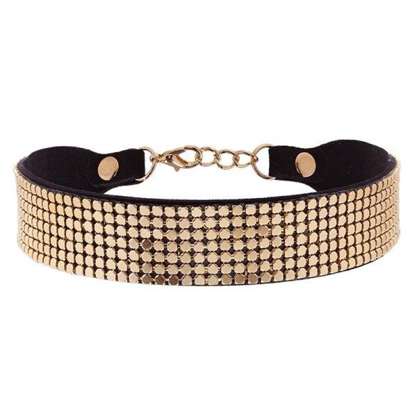 Choker Pretty Chain goud gouden brede zwarte chokers zilveren studs metallic online kettingen accessoires kopen