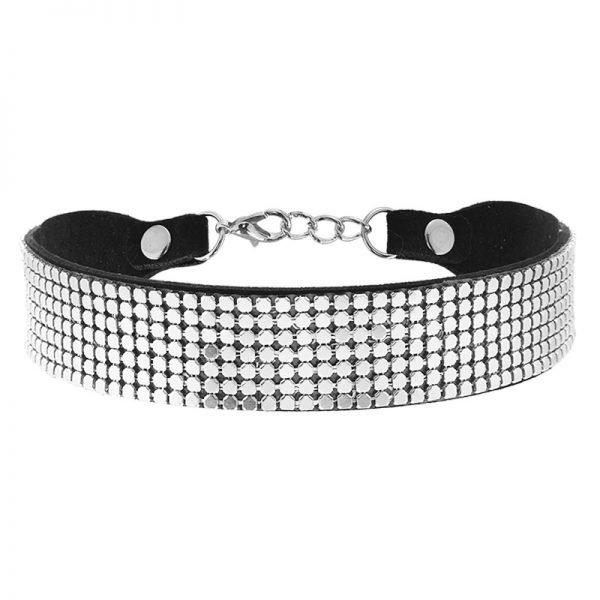 Choker Pretty Chain zilver brede zwarte chokers zilveren studs metallic online kettingen accessoires kopen