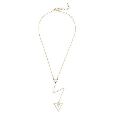 Ketting Marble Triangle kopen lange gouden ketting 3 driehoeken yehwang trendy