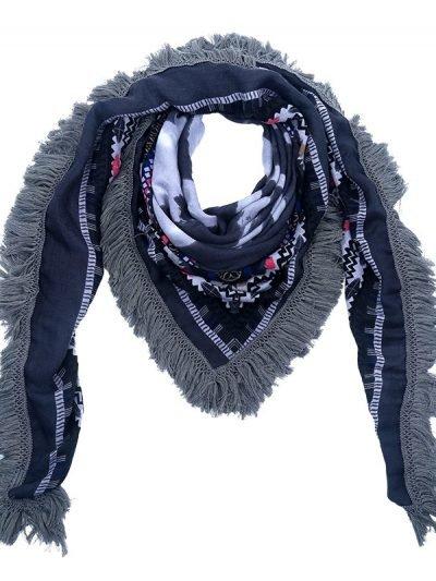 Scarf Winter Aztek blauw blauwe vierkante boho sjaals omslagdoeken dames print online kopen