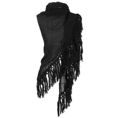 Sjaal Autumn fringe zwart zwarte driehoek sjaals grote dunne omslagdoeken dames accessoires online kopen