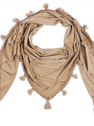 Sjaal Tassle bruin bruine grote boho kwastjes sjaals omslagdoeken dames accessoires online kopen