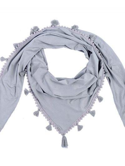 Sjaal Tassle grijs grijze grote boho kwastjes sjaals omslagdoeken dames accessoires online kopen