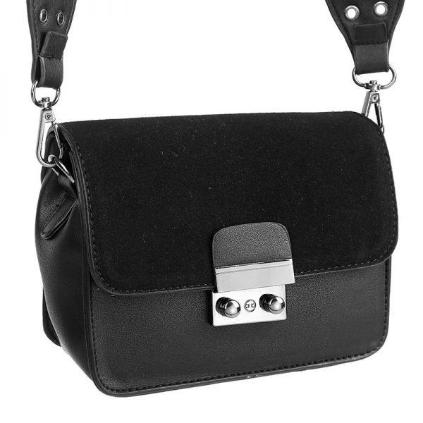Tas Favo black zwart zwarter tas tassen met verstelbare band hengsel zilveren studs dames tassen online kopen