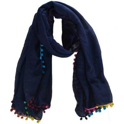 Sjaal Rainbow Bolletjes blauw blauwe lange dames sjaals omslagdoeken gekleurde regenboog bolletjes boho ibiza scarfs online kopen bestellen