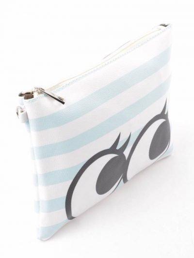 Clutch cartoon eyes blauw witte clutch tas met rits en polsbandje print okay musthave dames etuis online kopen