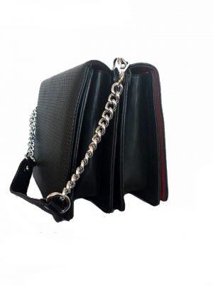 Duo Tas Sara zwart zwarte schoudertas zilveren ketting hengsel look a like dames tassen it bags online kopen