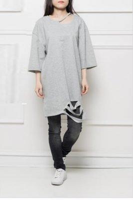 Jurk-Sammy-Grijs-grijze-half-lange-jurken-sweaterdress-dames-kleding-musthaves-online-kopen-300x400