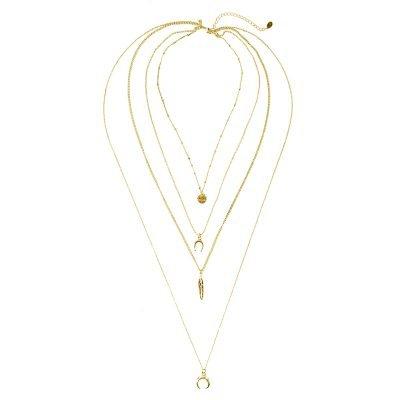 Ketting-Indian-Dreams-gouden goud -kettingen setje 4 kettingen lagen-met-maan-veer-i-wish-bedels-boho-goedkoop-dames-sieraden
