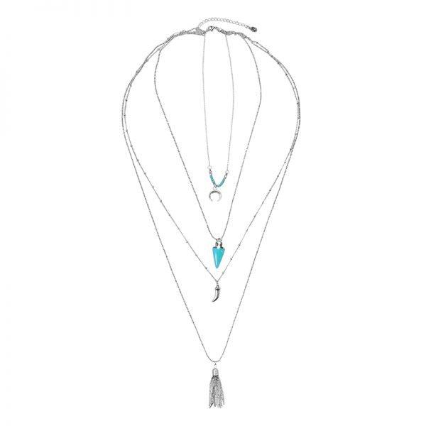 Lange Ketting Zomer liefde zilveren zilver kettingen met turquoise kwastje tand bedels accessoires boho goedkoop dames sieraden
