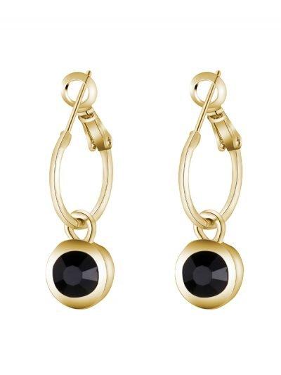 Oorbellen chic Sparkle goud gouden dames oorbel met zwarte steen musthave vrouwen accessoires