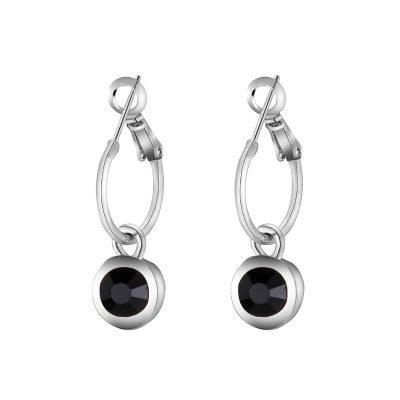 Oorbellen chic Sparkle zilver zilveren dames oorbel met zwarte steen musthave vrouwen accessoires