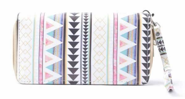 Portemonnee Aztec wit witte Portemonnee met aztec print pastelkleuren dames Portemonnees wallet online kopen met polsbandje