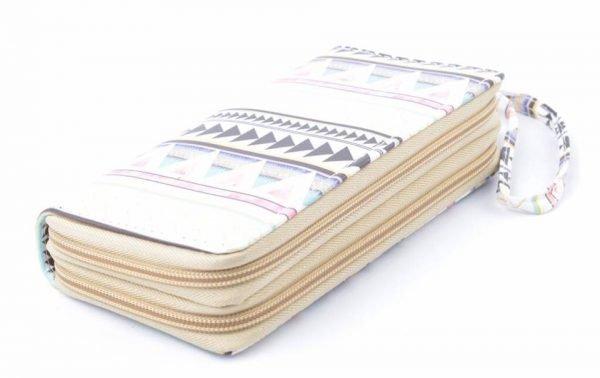 Portemonnee Aztec wit witte Portemonnee met aztec print pastelkleuren dames Portemonnees wallet online kopen polsbandje