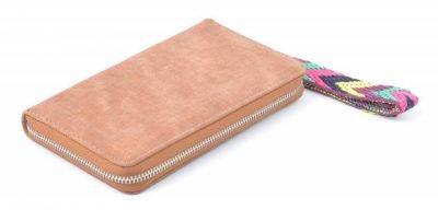 Portemonnee Multi Color Polsbandje bruin bruine Portemonnee met gekleurd polsbandje dames Portemonnees wallet online kopen clutches rits