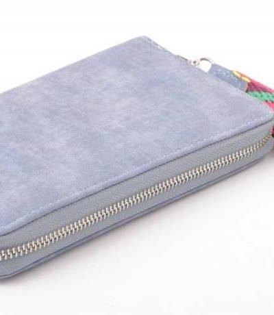Portemonnee Multi Color Polsbandje jeans blauw blauwe Portemonnee met gekleurd polsbandje dames Portemonnees wallet online kopen clutches rits