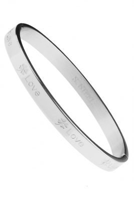 RVS ArmbandLucky Love zilveren zilver rvs armbanden met love tekst valentijn cadeau stainless steel