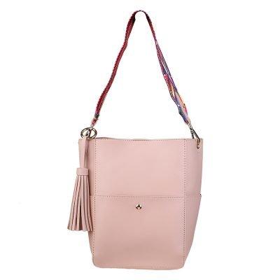 Shopper Charming pastel zalm roze pink tassen met afneembare guitar hengsel en losse binnentas musthave tas kwastje dames