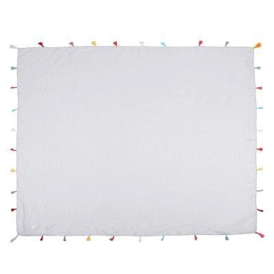 Sjaal Summer Tassels grijs grijze vierkante sjaal sjaals omslagdoeken gekleurde kwastjes boho ibiza groot