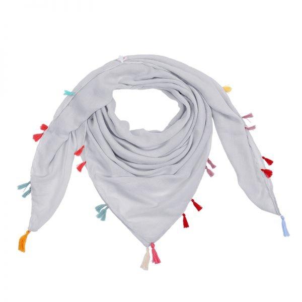 Sjaal Summer Tassels grijs grijze vierkante sjaals omslagdoeken gekleurde kwastjes boho ibiza
