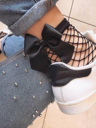 Visnet sokken Bow zwarte zwartpanty sokjes met strikje achter in musthave dames fishnet socks panty musthaves Vrouw Mesh Kant Vis