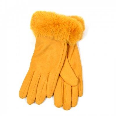 Handschoenen Happy Fur geel gele dames handschoenen suedine suede fake fur winter accessoires telefoon kopen