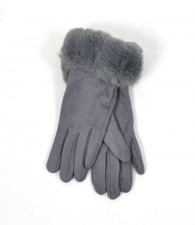 Handschoenen Happy Fur grijs grijze dames handschoenen suedine suede fake fur winter accessoires telefoon kopen