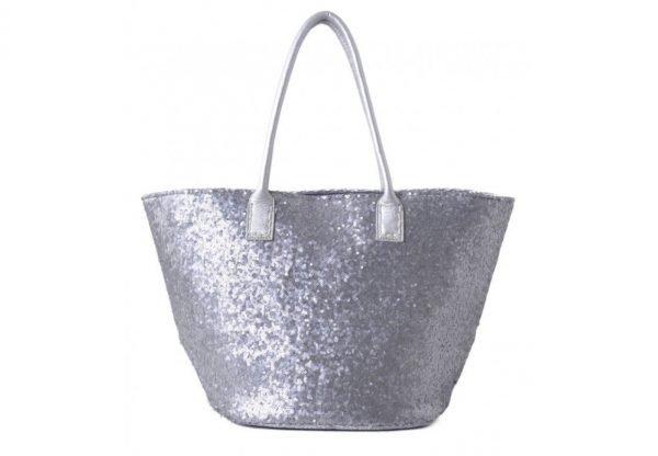 Shopper glitter zilver zilveren dames shopper met pailletten gouden hengsel musthave dames tassen online