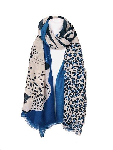 Sjaal Happy Tiger blauwe blauw wit zwart gekleurde print sjaal dames sjaals omslagdoekken dieren print trendy giuliano kopen