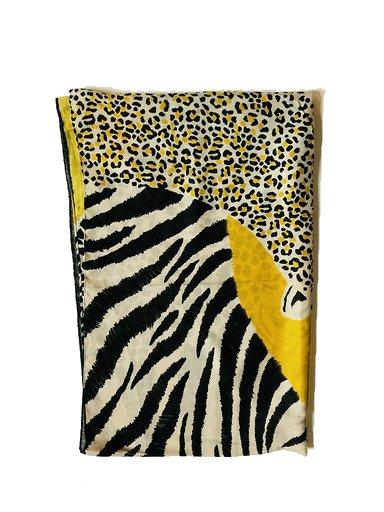 Sjaal Happy Tiger geel gele zwart gekleurde print sjaal dames sjaals omslagdoekken dieren print trendy giuliano bestellen