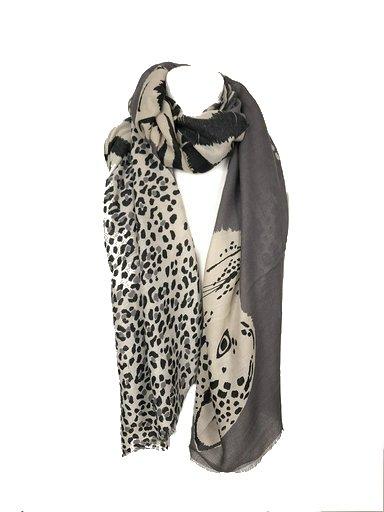 Sjaal Happy Tiger grijs grijze wit zwart gekleurde print sjaal dames sjaals omslagdoekken dieren print trendy giuliano kopen