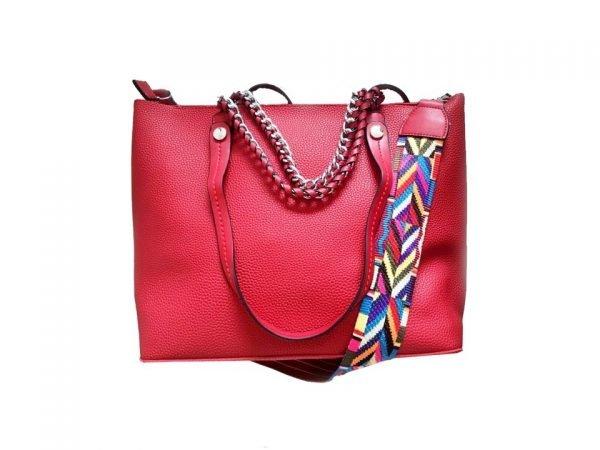 Tas-Guitarstrap-rood-rode-dames-tassen-met-zilveren-ketting-hengsel-musthave-soepele-goedkope-mooie-dames-tassen-online bovenkant