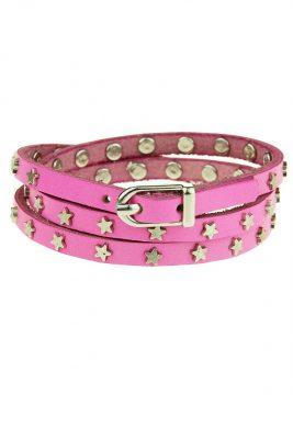 Wikkel Armband Stars roze fuchsia riem armbanden met sterren dames sieraden accessoires bracelet amrband online