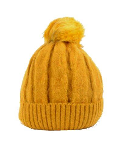 Wollen Muts Cold Winter geel gele dames gevoerde dames mutsen bolletje giuliano dames online kopen bestellen
