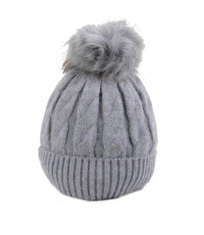 Wollen Muts Cold Winter grijs grijze warme dames gevoerde dames mutsen bolletje giuliano dames online kopen