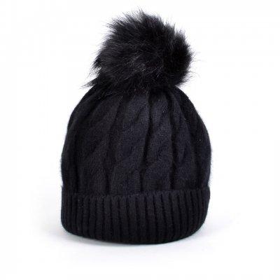 Wollen Muts Cold Winter zwart zwarte dames gevoerde dames mutsen bolletje giuliano dames online kopen bestellen