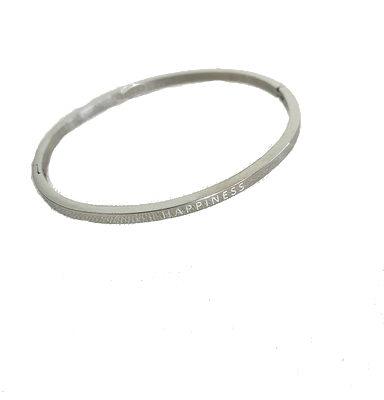 Armband Happiness zilver zilveren dames bracelet armbanden stainless steel rvs met tekst gegraveerd kopen trendy sieraden