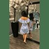 Boho Jurk Nienke blauw blauwe wit gestreept open schouders off the shoulder gekleurde kwastjes musthave bohemian dames fashion jurken achterkant