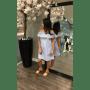 Boho Jurk Nienke blauw blauwe wit gestreept open schouders off the shoulder gekleurde kwastjes musthave bohemian dames fashion jurken online