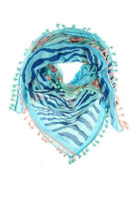 Boho Sjaal aloha blauw blauwe bohemian driehoeks sjaal kwastjes print dames sjaals online kopen bestellen