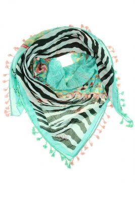 Boho Sjaal aloha mint bohemian driehoeks sjaal kwastjes print dames sjaals online kopen bestellen