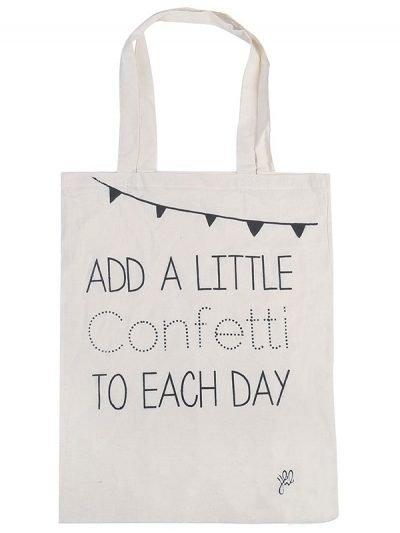 Canvas tas Add a little confetti wit witte -hippe-musthave-zomer-tassen-stoffen-stassen-met-tekst-dames tassen online