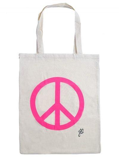 Canvas tas Pink peace wit witte -hippe-musthave-zomer-tassen-stoffen-stassen-met-roze peace teken-dames tassen online