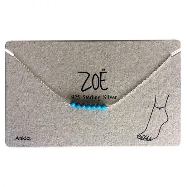 Enkelbandje Beads 925 sterling merk ZOË silver zilver zilveren bandjes blauwe blauw kraaltjes dames enkelbandjes
