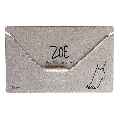Enkelbandje Beads 925 sterling merk ZOË silver zilver zilveren bandjes witte creme kraaltjes dames enkelbandjes