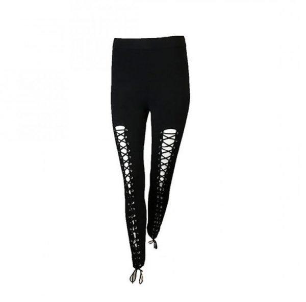 Legging lace up zwart zwarte legging met veters voor open sexy legging dames kleding online