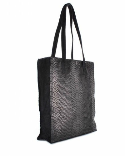 Leren Shopper-Suede Croco zwart zwarte croco print kroko print-luxe-lederen-shopper grote lederen dames tassen -it-bags-online-bestellen-kopen giuliano side side