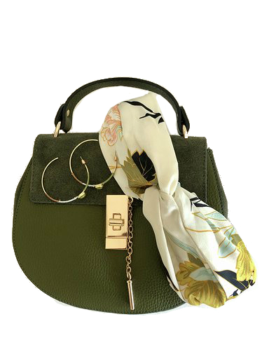 Leren tas chloe groen oorbellen green stone haarband my flowers mix and match what to wear army green accessoires
